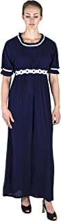 Sakkas Isabis Womens Casual Long Lace Modest Dress Short Sleeves Stretchy