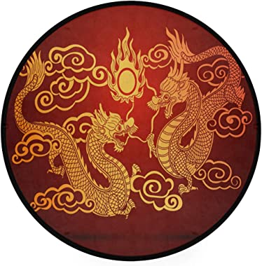 Chinese Dragons Area Rug Round Non-Slip Carpet Living Room Bedroom Bath Floor Mat Home Decor (3 Feet Round)