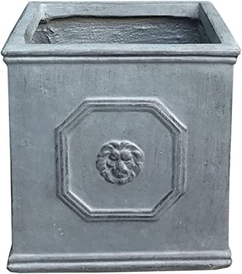 Kante RF0172B-C80451 Lightweight Classic Square English Style Lion Head Planter, Antique Gray