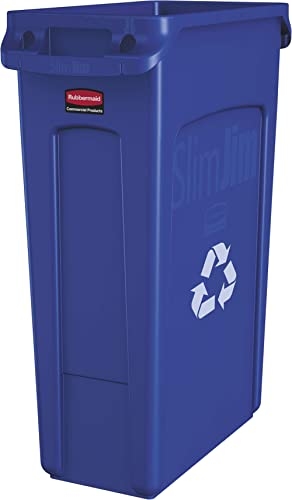 Rubbermaid Commercial Products Slim Jim Plastic Rectangular Recycling Bin With Venting Channels, 23 Gallon, Blue Recy...