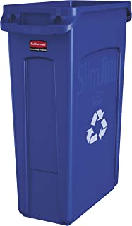 Rubbermaid Commercial Products Slim Jim Plastic Rectangular Recycling Bin With Venting Channels, 23 Gallon, Blue Recycling (Fg354007Blue)