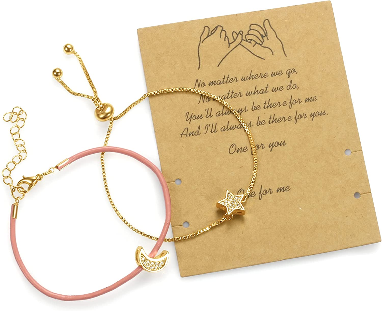 Best Friend Bracelet, Leather Bracelet for 2 with a Wish Pinky C