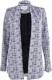 Women's Textured Print Open Front Long Jacket