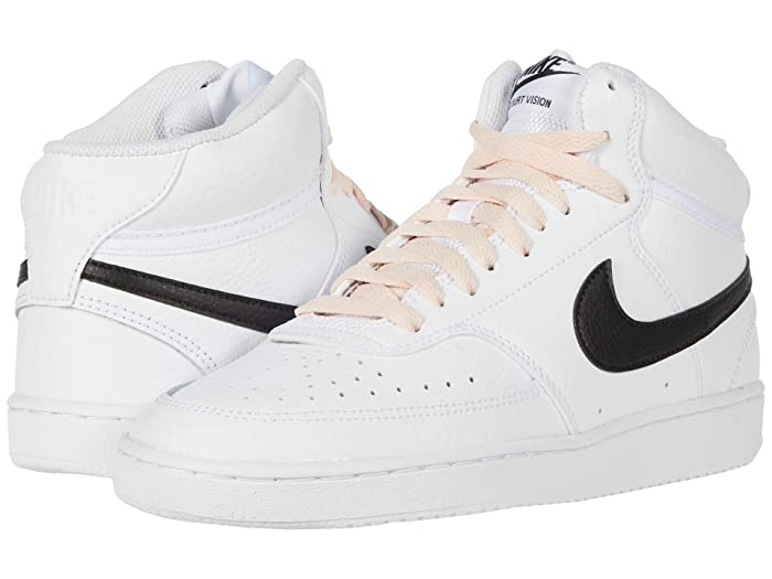 Vintage Sneakers for Men and Women Nike Court Vision Mid WhiteBlackWashed Coral Womens Shoes $74.95 AT vintagedancer.com