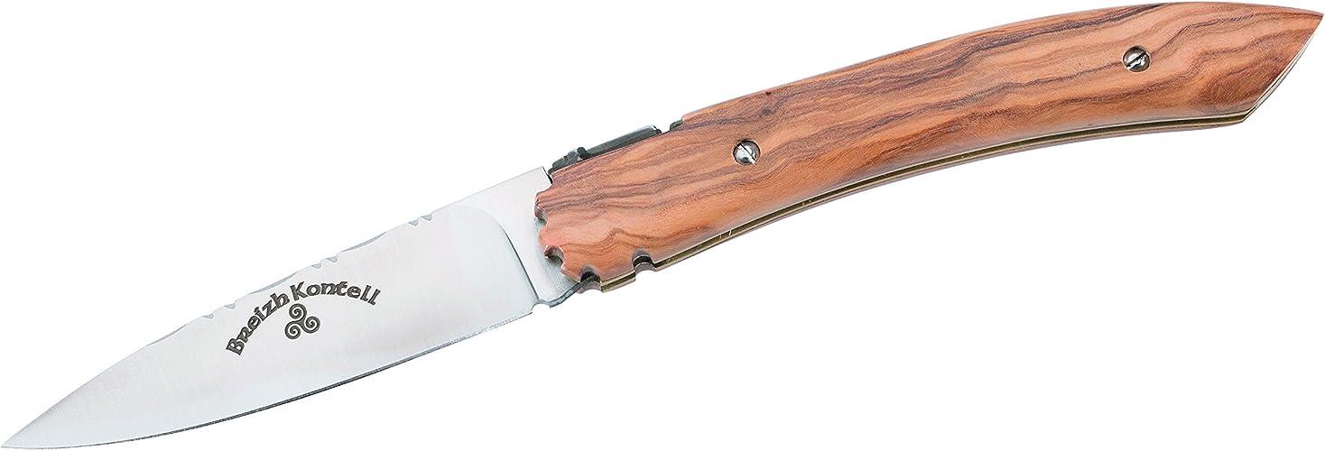 L'Atelier des Couteaux Breizh Kontell Couteau de Poche en Bois d'olivier de Bols, Bleu, m