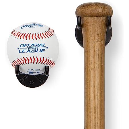 Wall Mount Baseball Bat Horizontal Rack Baseball Bat Hanger Holder TOBWOLF 2PCS Baseball Bat Display Case Baseball Bat Bracket