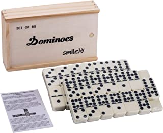 Smilejoy Classical Double 9 Dominos Game Set with Spinner 55pcs (2-7 Players)