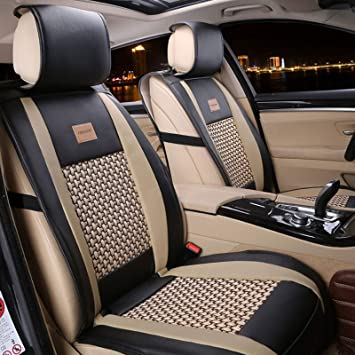 FREESOO Car Seat Cover Cushions Faux Leather, Front Seats Covers Carseats Protectors Universal Fit for SUV Sedan Pick-up Truck Year Round Use(Khaki Black 2PCS): image
