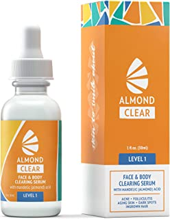 Face & Body Clearing Serum, Level 1- for acne, folliculitis, aging skin, ingrown hairs, dark spots - face, chest, butt, back, thighs, arms -mandelic acid- naturally antibacterial/antifungal, Pack of 4