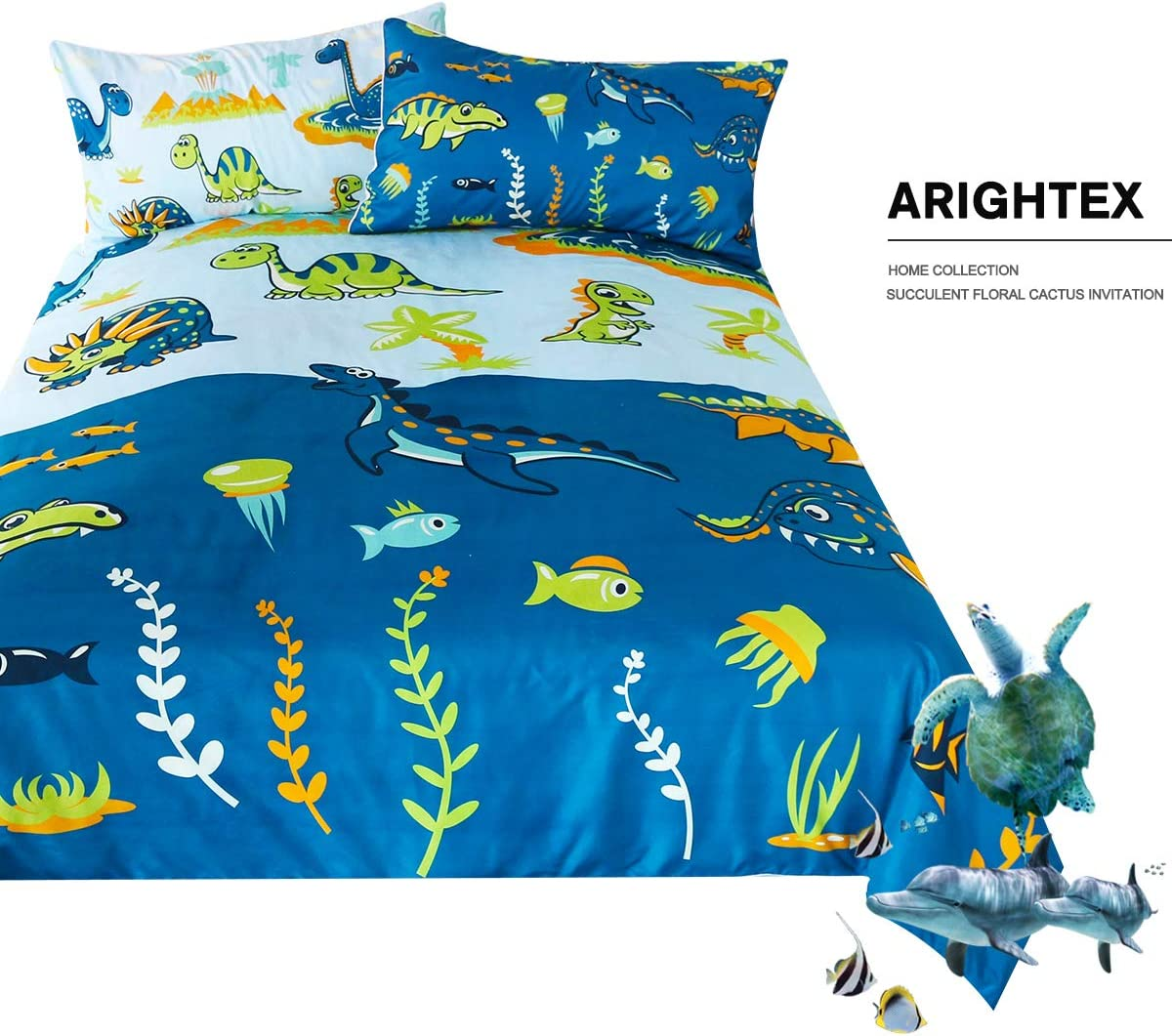 ARIGHTEX Dinosaur Print Bedding for Full Size Bed Boys Cute Ancient Animal Duvet Cover Colorful Dinosaurs 3 Pieces Kids Cartoon Comforter Cover Set