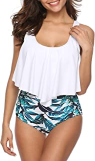 Best Swimsuits for Women Two Piece Bathing Suits Ruffled Flounce Top with High Waisted Bottom Bikini Set Reviews