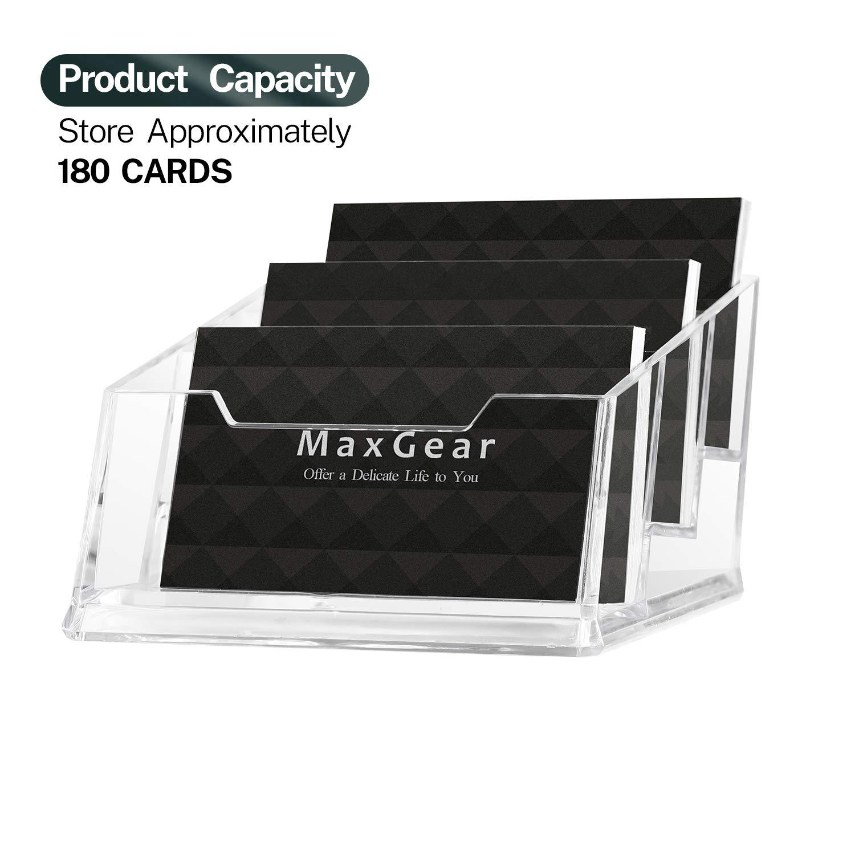 1xDisplay Stand Acrylic Plastic Desk Shelf Clear Desktop Business Card Holder DI
