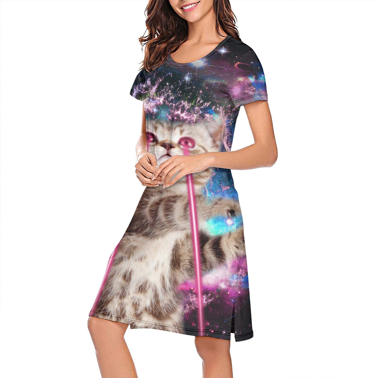 ZWEN Women's Bengal Cat Universe Laser Nightgown Classic Nightshirt Breathable Sleeping Gown