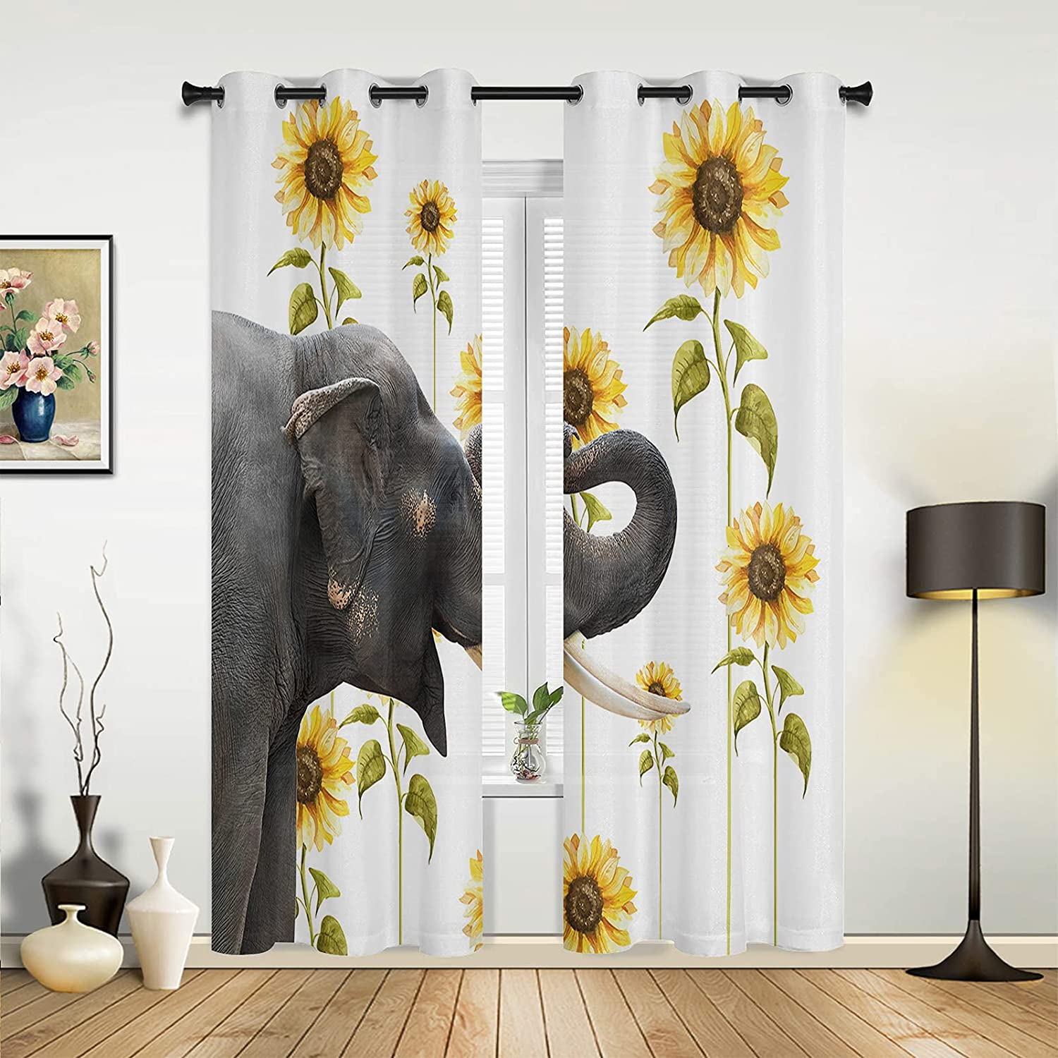 Window famous Sheer Curtains for Bedroom Room Living Funny wit Brand new Elephant