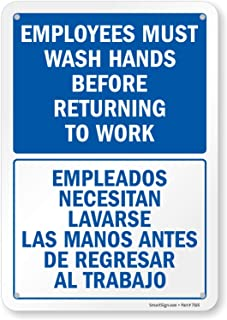 "SmartSign Employees Must Wash Hands Sign, Employees Must Wash Hands Before Returning to Work Bilingual Sign | 7"" x 10"" Pla..."
