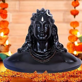 CraftVatika Resin Lord Adiyogi Mahadev Shiv Shankara Showpiece Idol Murti Statue for car Dashboard, 6 x 4.5 x 4 Inches, Black