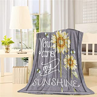 You Are My Sunshine Blanket Lightweight Flannel Fleece Sunflower Throw Blankets Reversible Cozy Plush Microfiber All-Season Blanket for Bed/Couch/Sofa - Throw 40x50 Inch, Yellow Gray