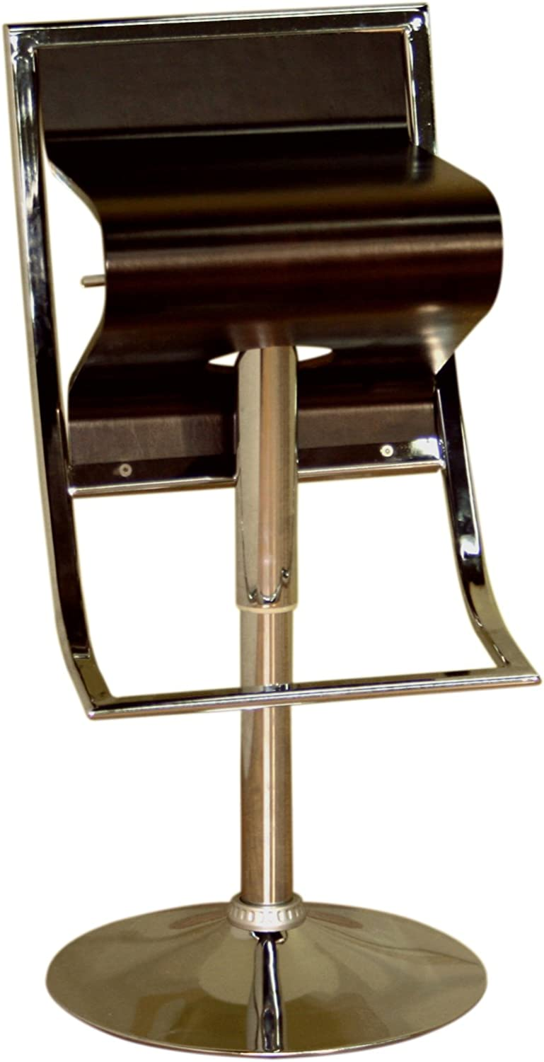 Baxton Studio Lynette Brown Curved Wood Adjustable Swivel Bar Stool, Small