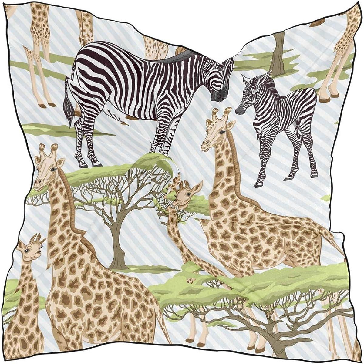 XLING Fashion Square Scarf Geometric Animal Giraffe Zebra Lightweight Sunscreen Scarves Muffler Hair Wrap Headscarf Neckerchief for Women Men