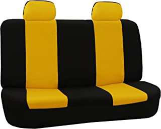 FH Group FB050012 Flat Cloth Bench Seat Covers Yellow/Black Color- Fit Most Car, Truck, SUV, or Van