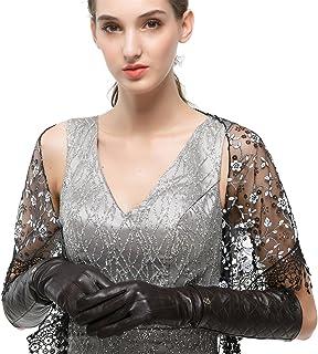 Nappaglo - Guanti lunghi da donna in pelle nappa con touchscreen, con cintura trapuntata