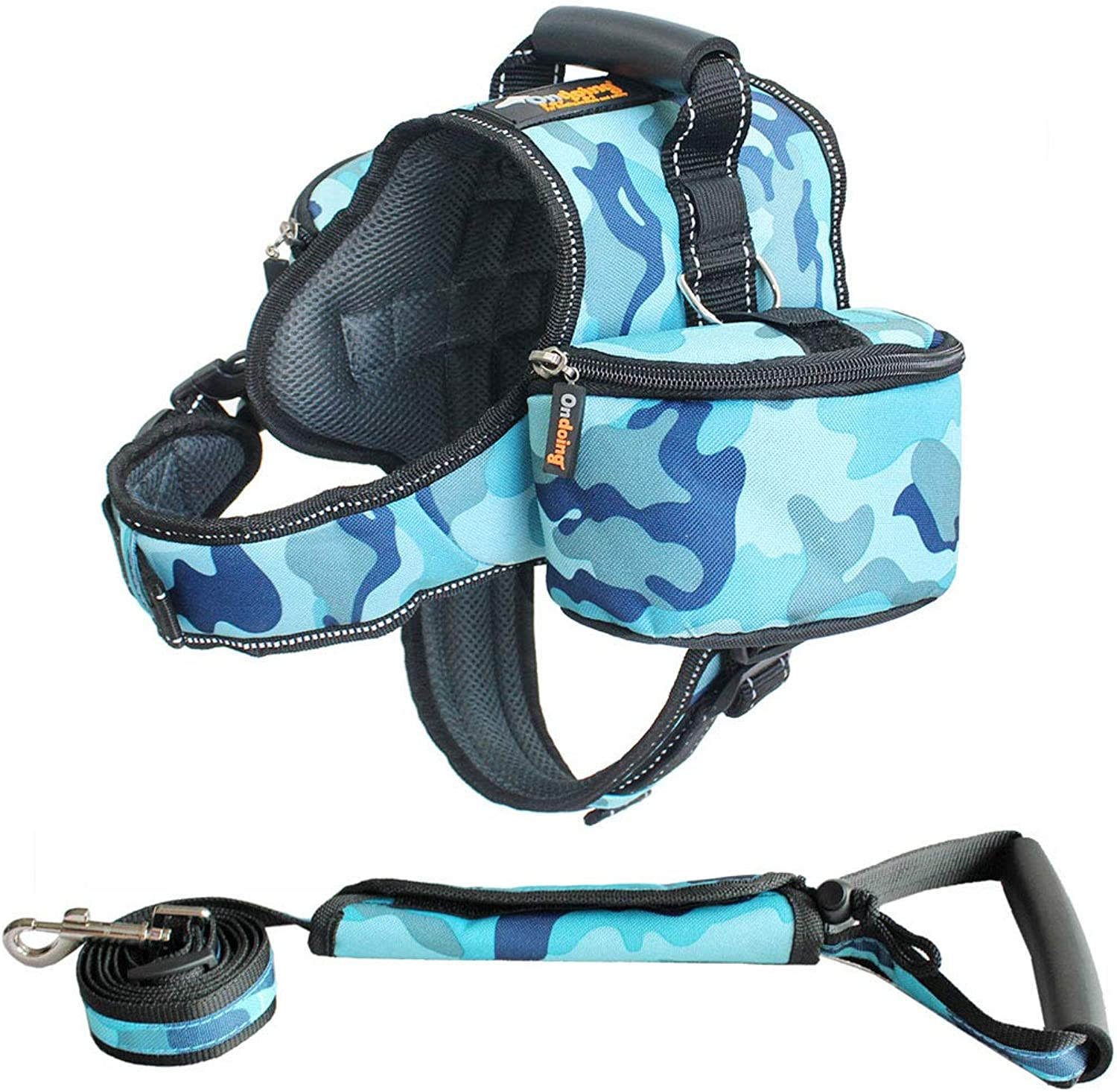 HOUYAZHAN Saddleshaped Pet Dog Backpack Out of Large And Medium Dogs Outdoor Traction Dualuse (color   bluee, Size   XXL)