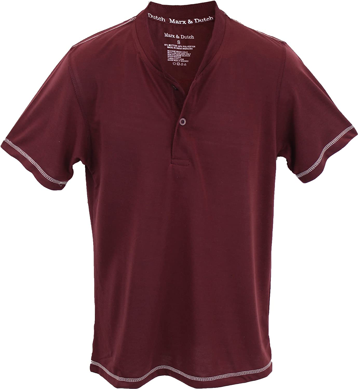 Marx & Dutch Short Sleeve Fashion Solid Color Henley T-Shirts 125180
