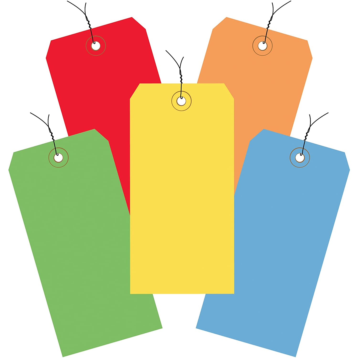 Assorted Color Shipping Tags, Wired, 13 Pt, 4 3/4