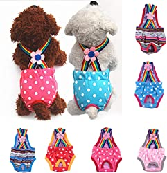 BYyushop Pet Physiological Pants Polka Dot Striped Female Dog Underwear Sanitary Diaper - Striped Red XL