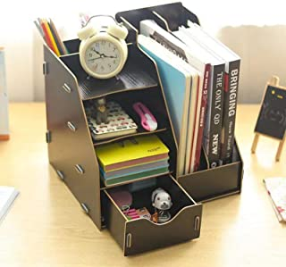 DIY Desk Tidy Stationary Storage Cabinet, Office Wooden Stationery Desk Tidy Storage Organiser Holder Sorter with 2 A4 Fil...