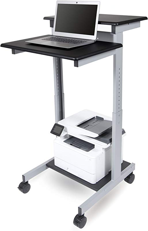24 Shelves Adjustable Mobile Stand Up Workstation Black Shelves Silver Frame