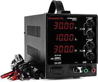 Fuente Alimentación Regulable CC, KAIWEETS 0-30V/0-10A Digital Suministro eléctrico de laboratorio de CC con Precisión Regulable para Reparacion de Dispositivo Eléctrico y Diseño de Circuito