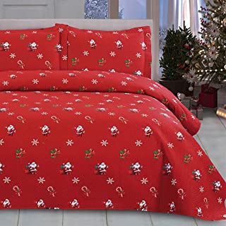 Oliven Christmas Quilts Set King Size Bedspreads Coverlet Set,Lightweight Blanket Reversible Bed Cover 3D Cartoon Christmas Santa Claus Christmas Bedding Christmas Home Decor,Red