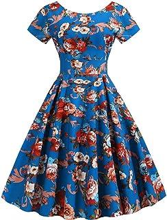 FRAUIT Vestiti Anni 50 Donna Lunghi Vintage Abito Elegante Ragazza Cerimonia Lungo A Fiori Vestito Ragazze Lunghi Casual d...