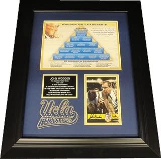 John Wooden Hand Signed Autograph Card Framed UCLA W/ 8X10 Pyramid Success Photo