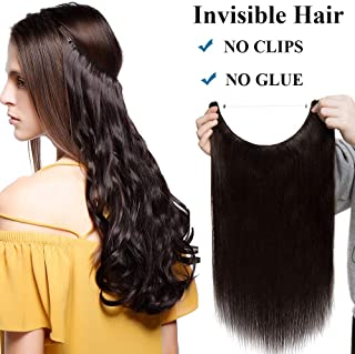 Extensiones de Cabello Natural con Hilo Invisible Sin Clip 100% Remy Pelo Natural Humano Una Pieza Liso Ajuatable Hair Extensions 16