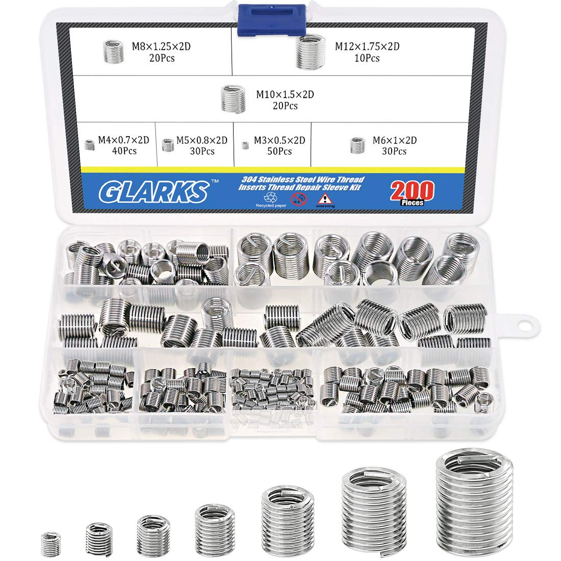 Glarks 200Pcs Wire Inserts Screws Minneapolis Mall Assortment Sta Sleeve Manufacturer direct delivery 304 Kit