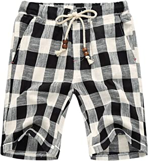 utcoco Men's Summer Drawstring Waist White-Black Plaid Slim Fit Chino Beach Shorts
