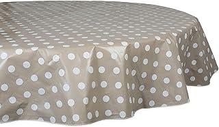 J & M Home Fashions Polka Dot Round Vinyl Tablecloth, 70'