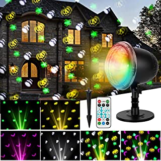 Oecalia Halloween Projector Light, Waterproof LED Projector Landscape Lamp Indoor Outdoor Holiday Remote Control Light for Halloween Home Party Garden Landscape Wall Decorations