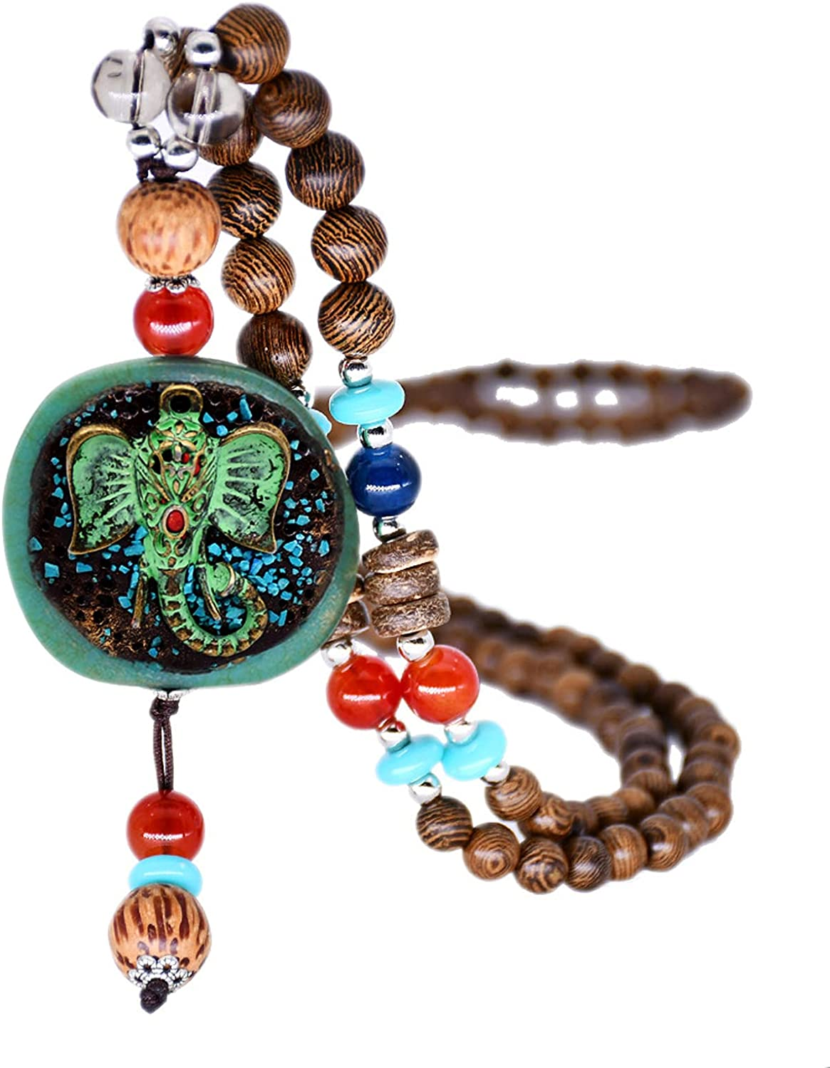 COLORFUL BLING Handmade Vintage Turquoise Wooden Beads Necklace Tibetan Carved Long Tassel Necklace for Women Girls Wood Jewelry