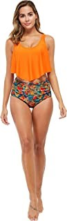 Leveham Women's Printed Ruffle Top High Waisted Bikini Set Womens Tummy Control 2PC Bathing Suit