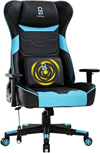 BestOffice Racing Computer Massage Office Adjustable Lumbar Support Headrest Armrest Swivel Rolling High Back Recliner Desk Chair for Adults Women, Blue