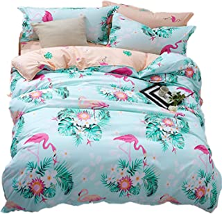 LAMEJOR Duvet Cover Set Queen Size Tropics Flamingo/Floral Pattern Luxury Soft Bedding Set Comforter Cover (1 Duvet Cover+2 Pillowcases) Pale Green/Pale Orange