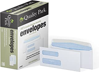 Quality Park #8 5/8 Double-Window Security Envelopes, Security Tint; for Checks & Secure Mail, 24-lb, White, 3-5/8