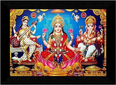 SAF Laxmi Ganesha Saraswati Multi-Effect UV Textured Home Decorative Gift Item Framed Painting 10 Inch X 13 Inch SANFK30853