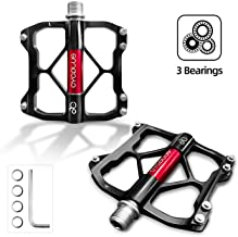 CYCPLUS Bicycle Pedals, 3 Bearings Mountain Bike Road Bike Pedals, Ultralight Aluminum Alloy Bicycle Pedals with Big Platf...