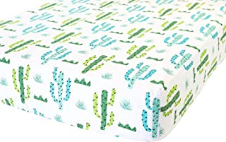 100% Organic Cotton Fitted Crib Sheet by ADDISON BELLE - Premium Baby Bedding - Soft, Breathable & Durable (Cactus)