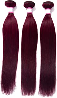 Brazilian Straight Burgundy Hair Bundles #99 Bold Red 1/3/4 Bundles Human Hair Weave Bundle Deals Remy Hair Extensions,10inches,#99