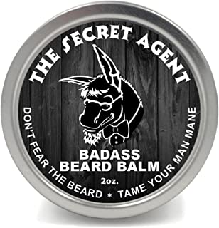 Badass Beard Care Beard Balm - Secret Agent Scent, 2 Ounce - All Natural Ingredients, Keeps Beard and Mustache Full, Soft ...